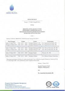Jadwal Briefing Pengarahan Tesis MM Sem.Genap 2013-2014