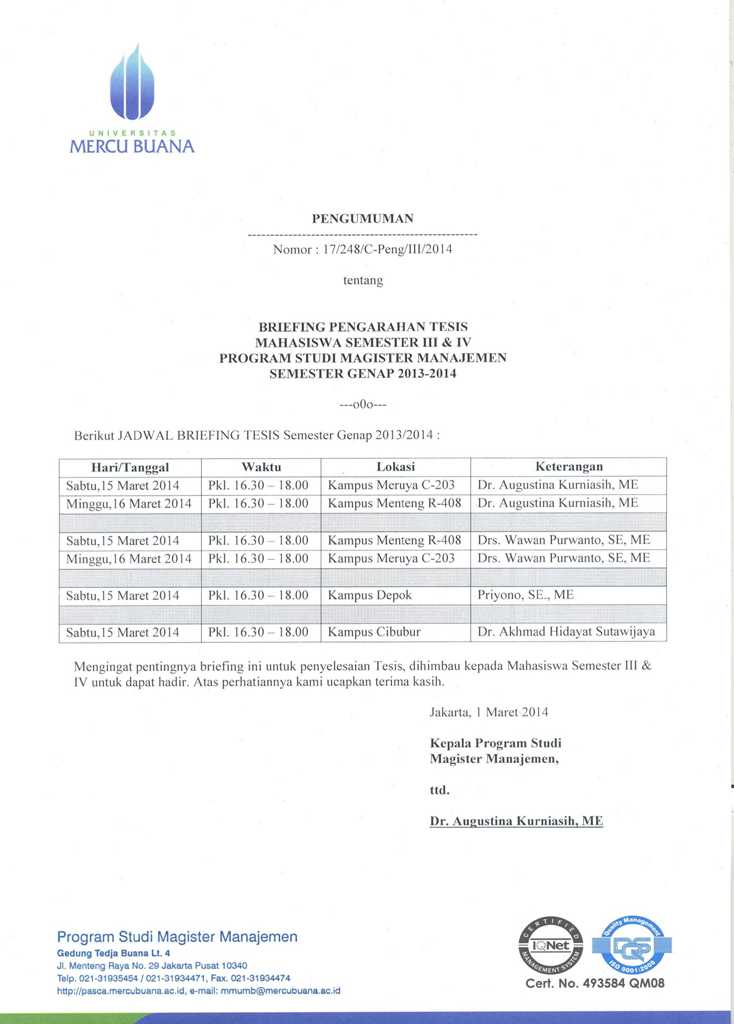 JADWAL BRIEFING PENGARAHAN TESIS MM SEMESTER GENAP 2013 ...