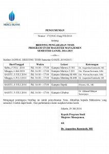 Pengumuman Briefing Tesis MM Sem. Ganjil 14-15