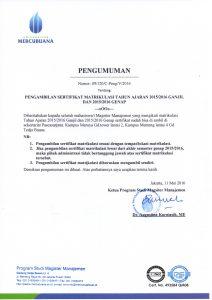 pengumuman Pengambilan sertifikat Matrikulasi103